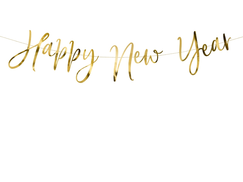 Girlang Script Happy New Year Guld