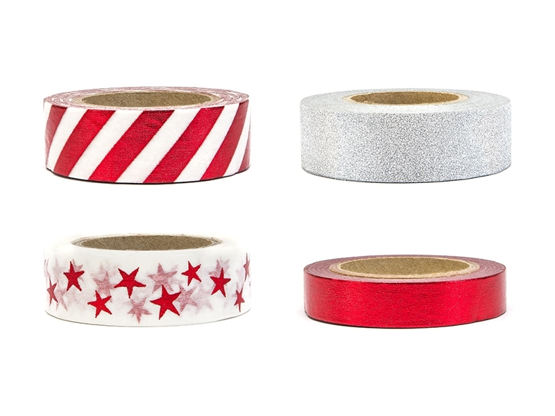 Washi Tape Mix Röd Silver